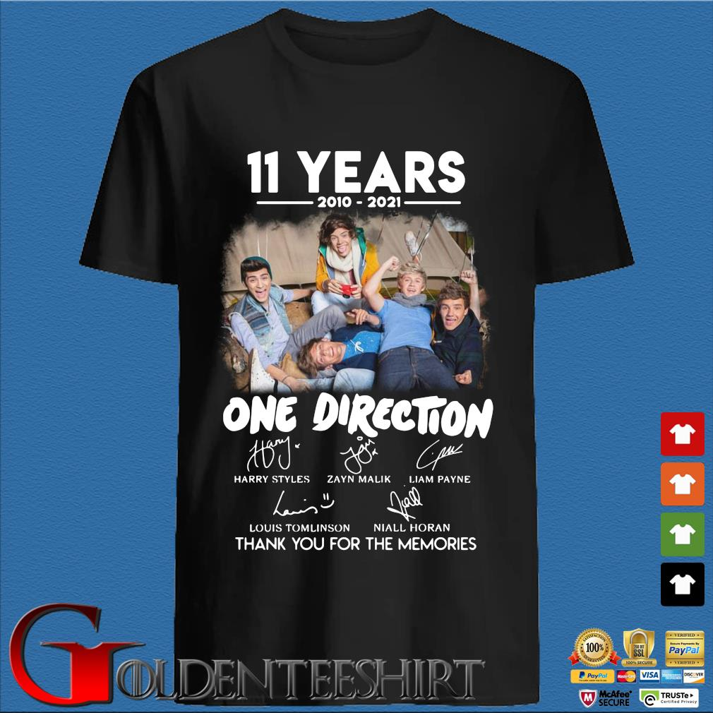 11 years 2010 2021 One Direction signatures thank you for the memories shirt