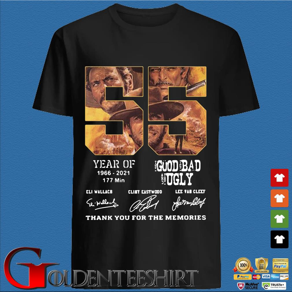 55 years of 1966 2021 177 min the good the bad and the ugly signatures thank you for the memories shirt