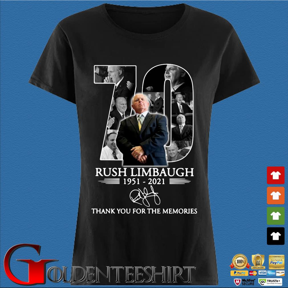 70 years 1951-2021 Rush Limbaugh thank you for the memories signature s Den Ladies