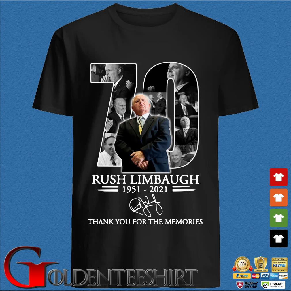 70 years 1951-2021 Rush Limbaugh thank you for the memories signature shirt