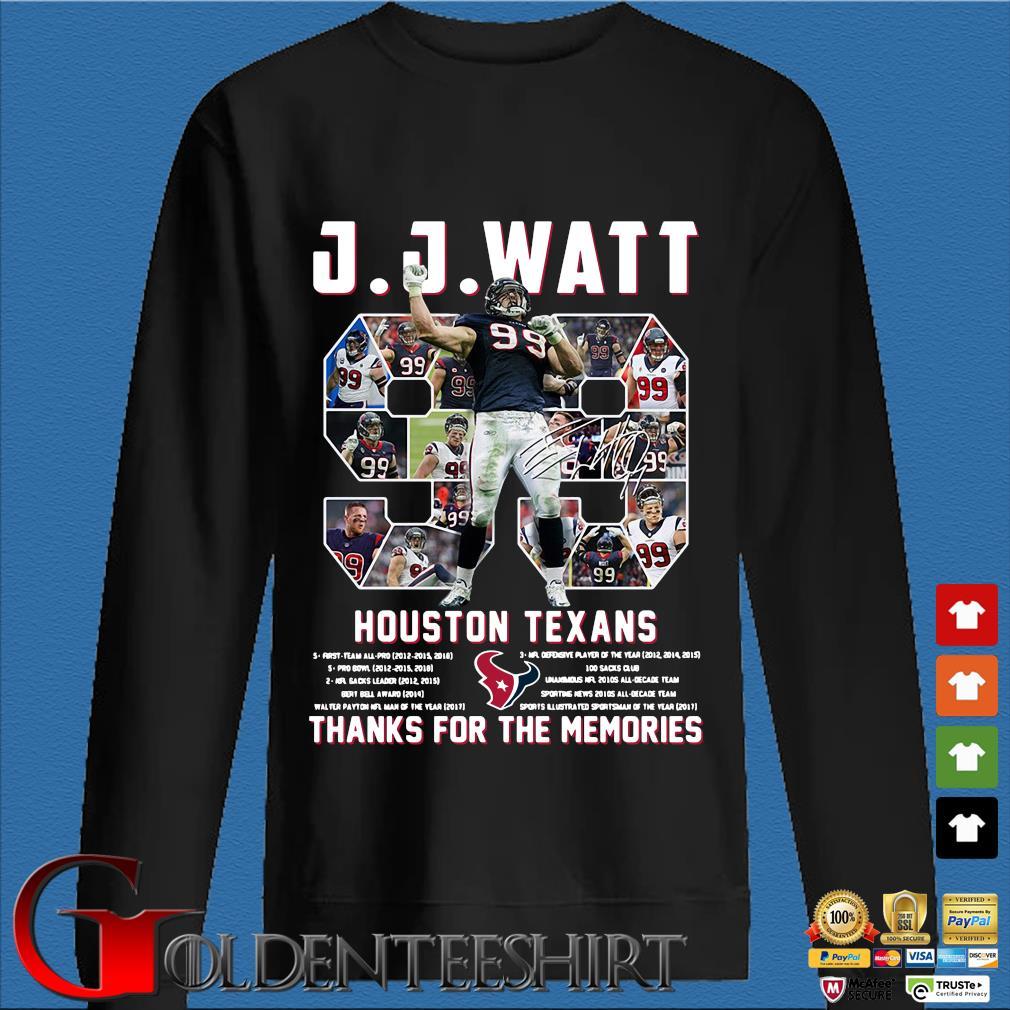 99 J J Watt Houston Texans thank you for the memories signature s Den Sweater
