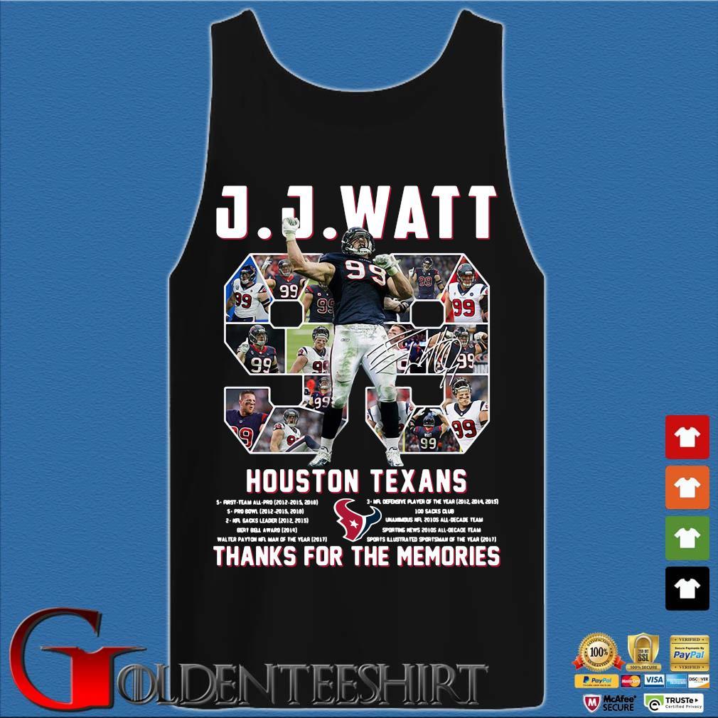 99 J J Watt Houston Texans thank you for the memories signature s Tank top den