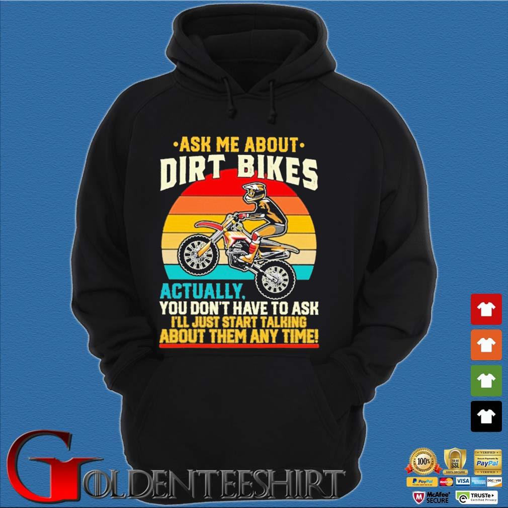 Ask Me about Dirt bikes actually you don't have to ask I'll just start talking about them any time vintage sunset s Hoodie đen