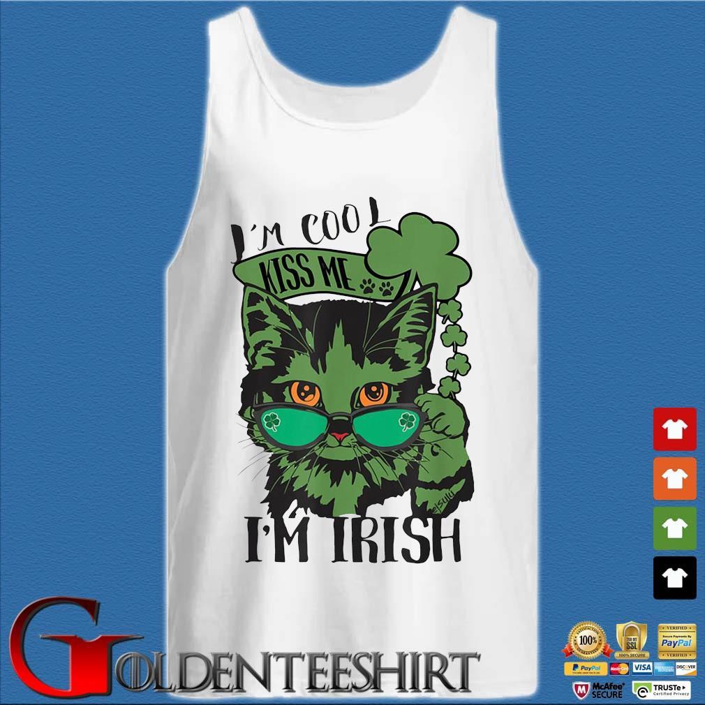 Cat I'm cool kiss Me I'm Irish St Patrick's Day s Tank top trắng