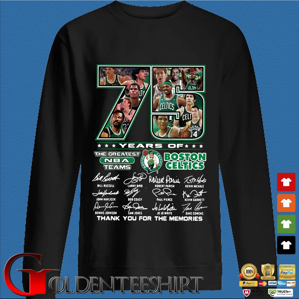 Funny 75 years of Boston Celtics the greatest NBA teams thank you for the memories signatures s Den Sweater