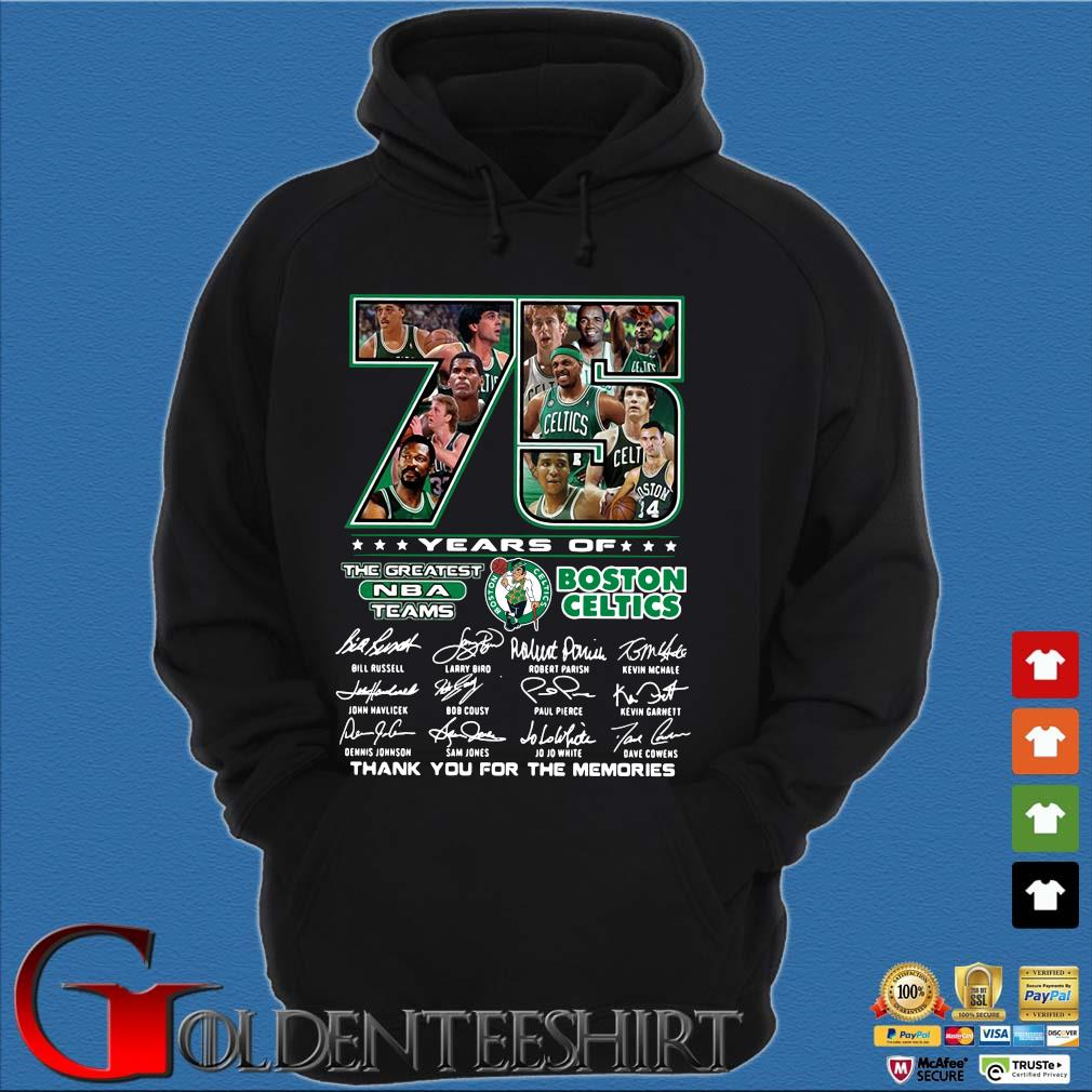 Funny 75 years of Boston Celtics the greatest NBA teams thank you for the memories signatures s Hoodie đen