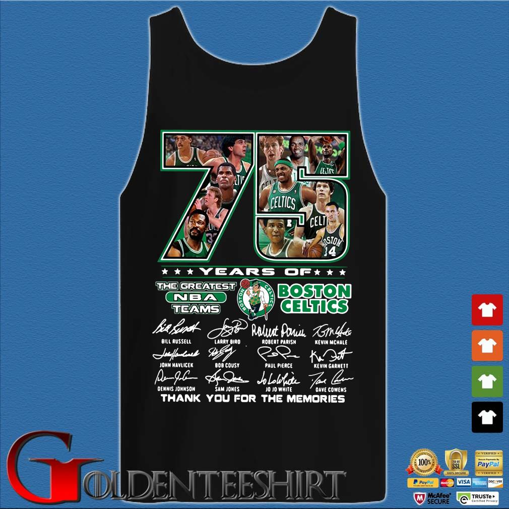 Funny 75 years of Boston Celtics the greatest NBA teams thank you for the memories signatures s Tank top den