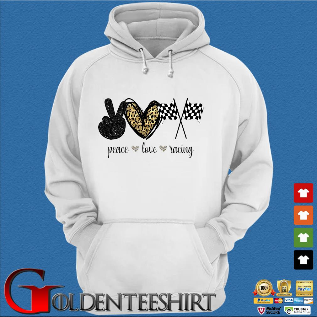 Peace Love Racing Diamond Shirt Trang Hoodie