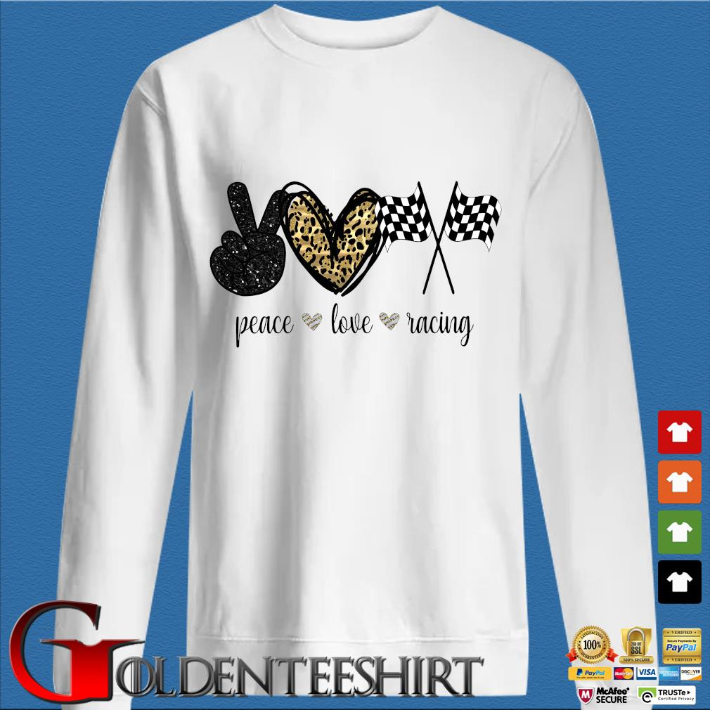 Peace Love Racing Diamond Shirt trang Sweater