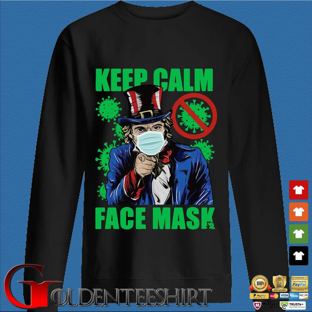 Uncle Sam keep calm face mask St Patrick's Day Den Sweater
