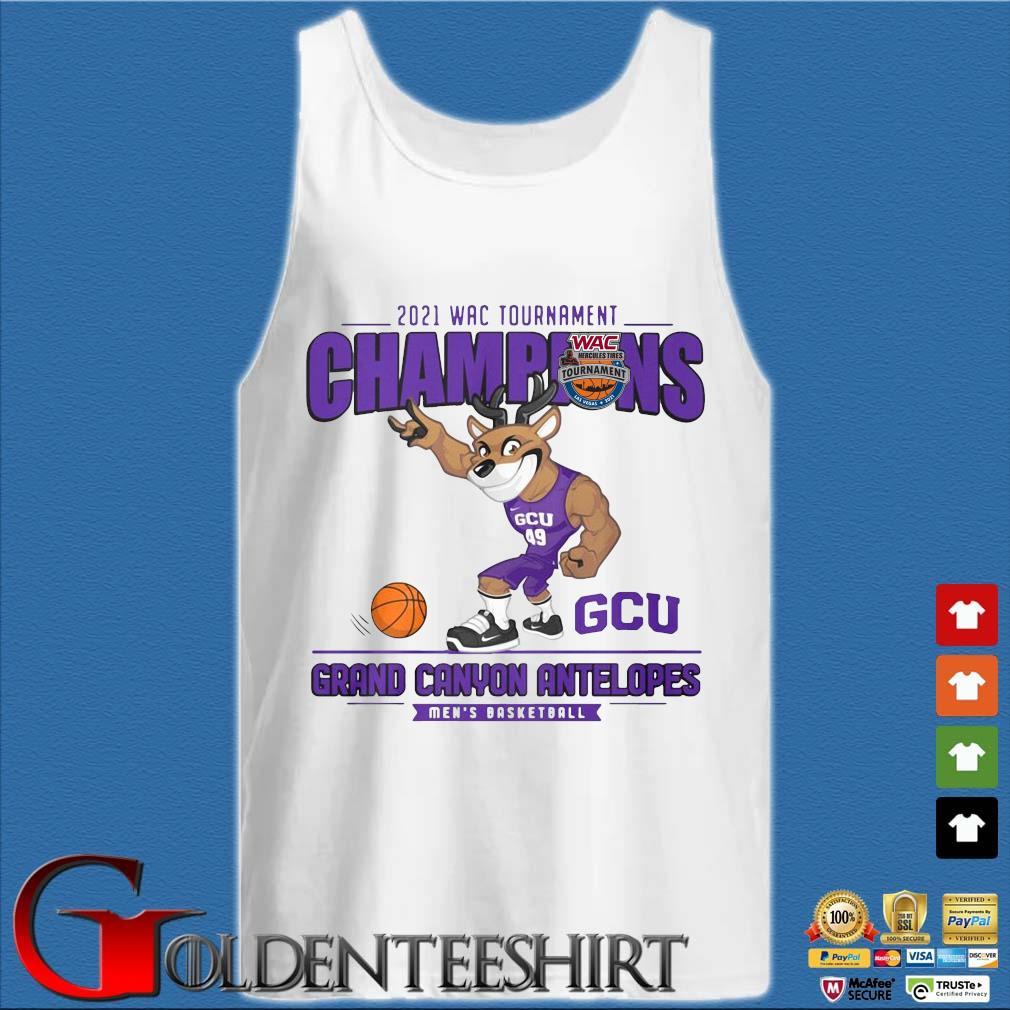 2021 Wac Tournament Champions GCU Grand Canyon Antelopes Men's Basketball Shirt Tank top trắng