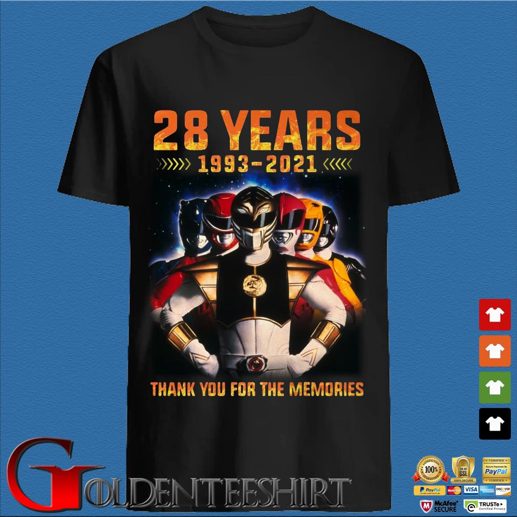 28 Year 1993 2021 Mighty Morphin Power Rangers Thank You For The Memories Shirt
