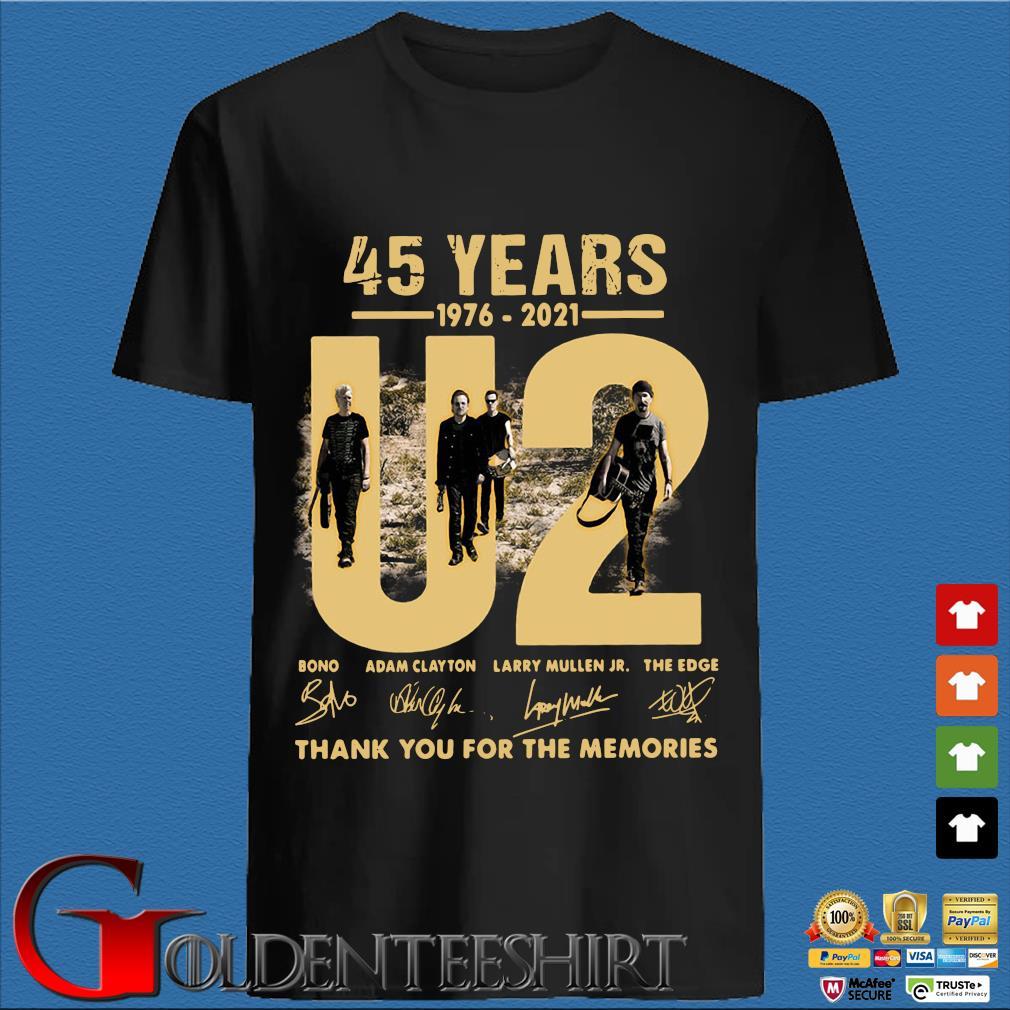 45 years 1976-2021 U2 Bono Adam Clayton thank you signatures shirt