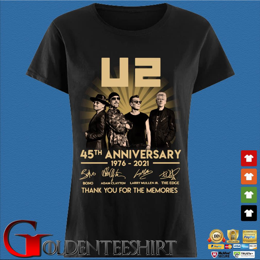 45th Anniversary U2 1976-2021 Signatures Thank You For The Memories Shirt Den Ladies