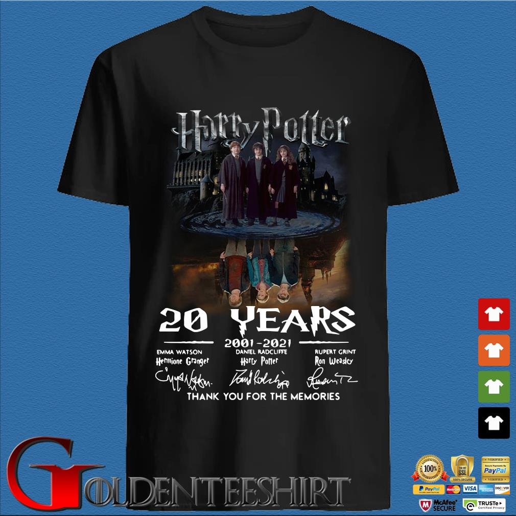Harry Potter water reflection 20 years 2001-2021 thank you for the memories signatures shirt