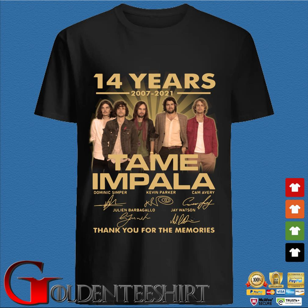 14 years 2007-2021 Tame Impala thank you for the memories signatures shirt