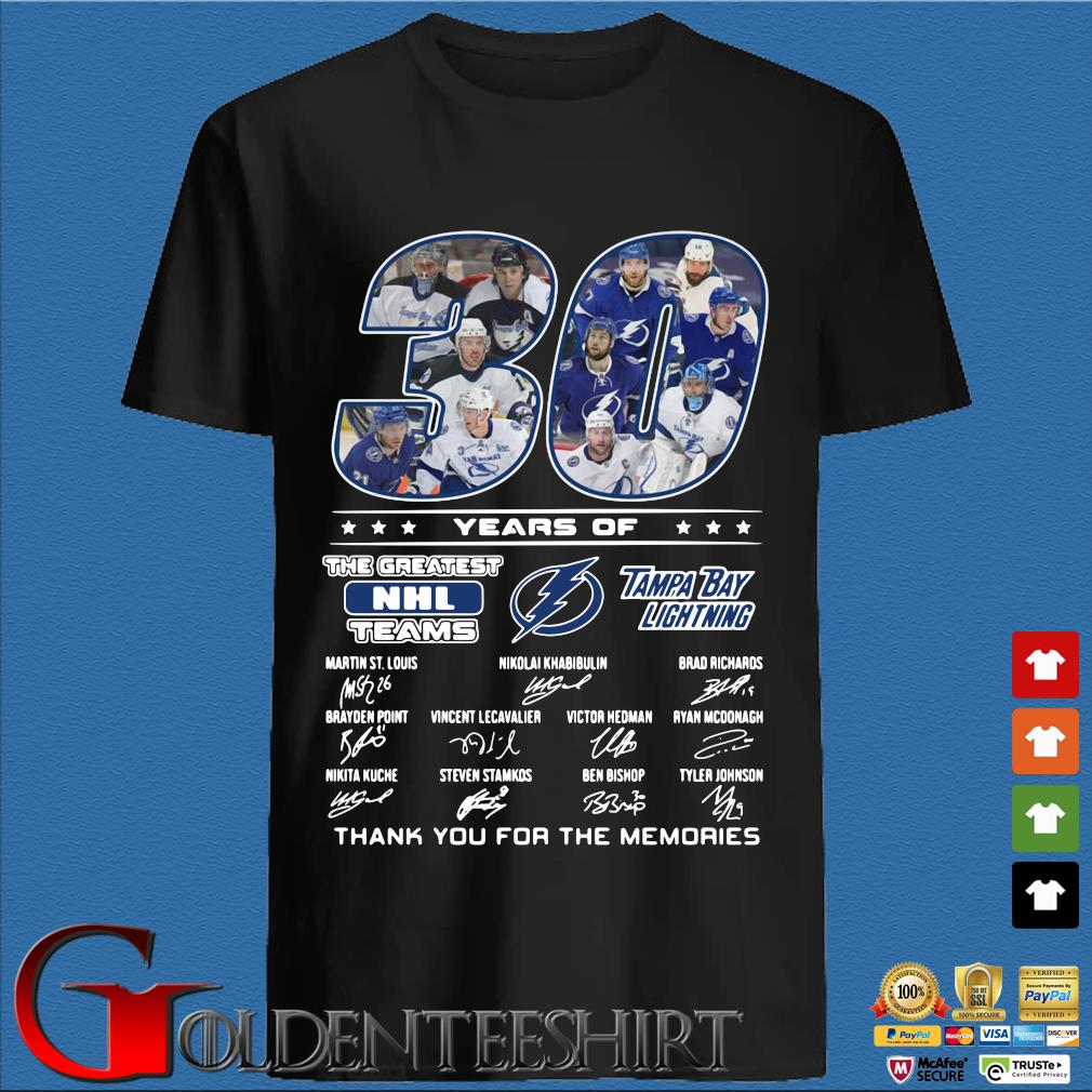 30 years of Tampa Bay Lightning the greatest NHL teams thank you for the memories signatures shirt