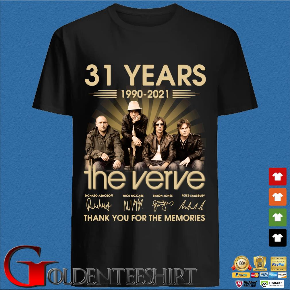 31 years 1990-2021 The Verve thank you for the memories signatures shirt