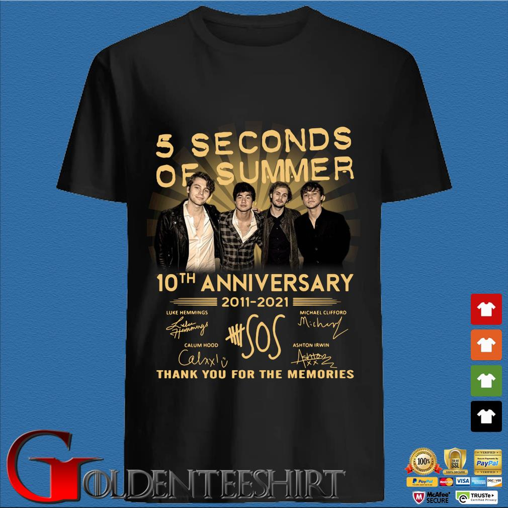 5 Seconds Of Summer 10th Anniversary 2011 2021 Signatures Thank You For The Memories Shirt