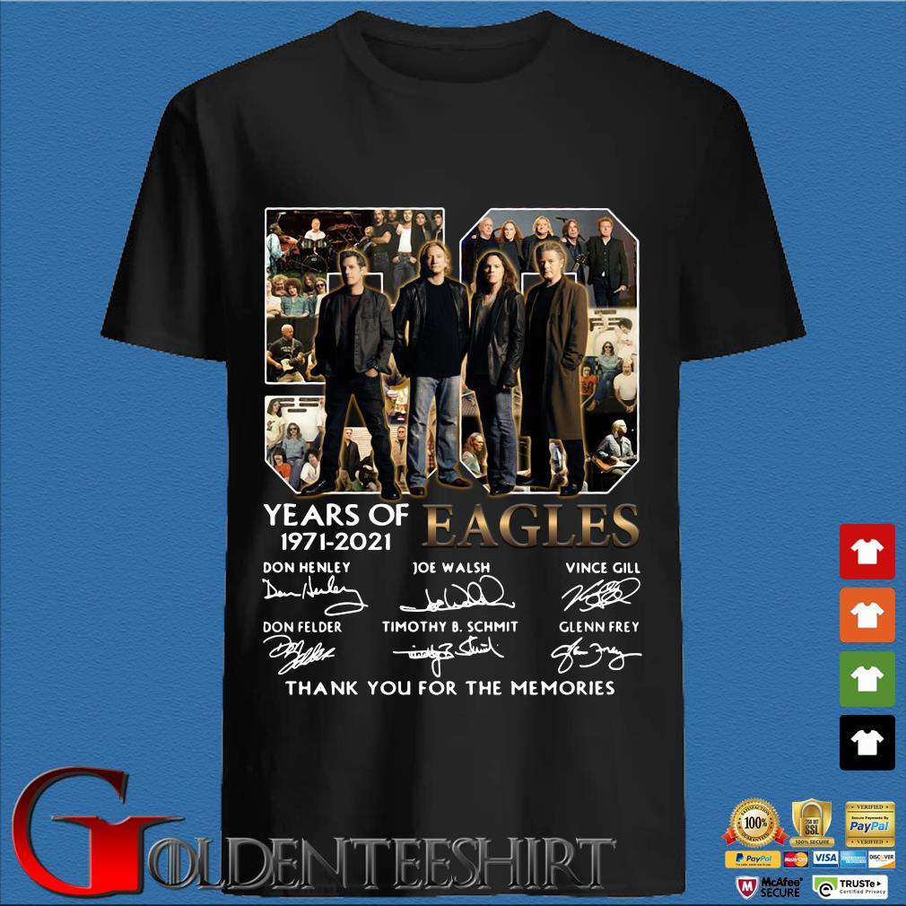 50 years of 1971 2021 Eagles signatures thank you for the memories shirt