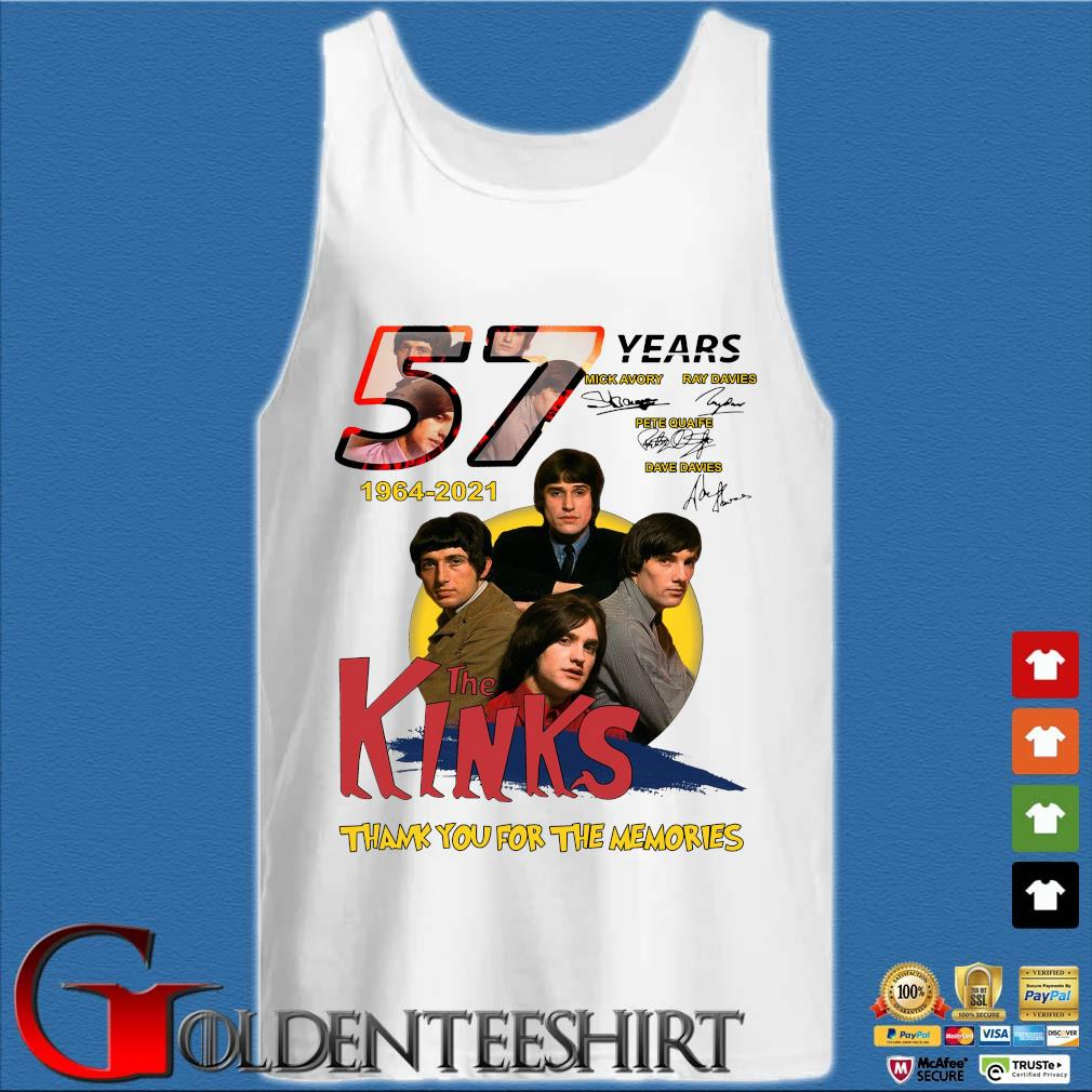57 Years 1964 2021 The Kinks Signatures Thank You For The Memories Shirt Tank top trắng