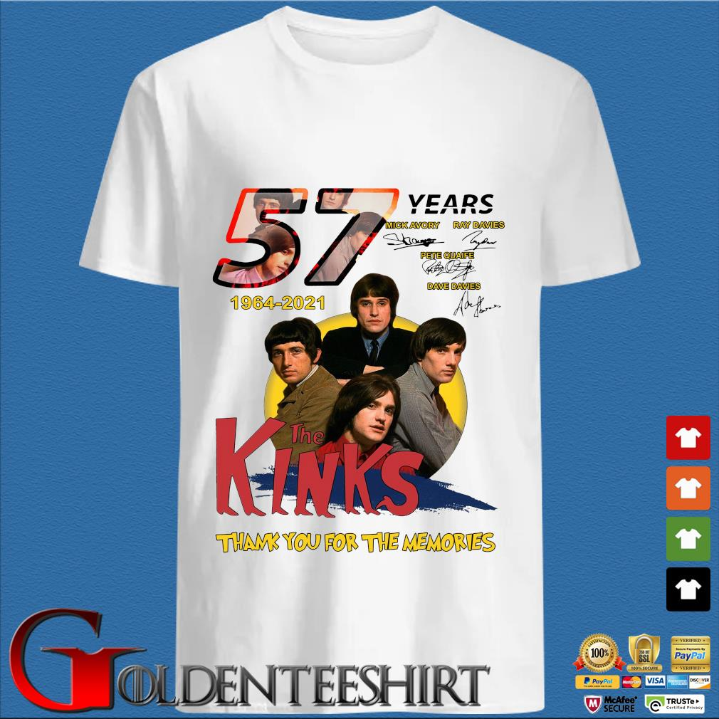 57 Years 1964 2021 The Kinks Signatures Thank You For The Memories Shirt