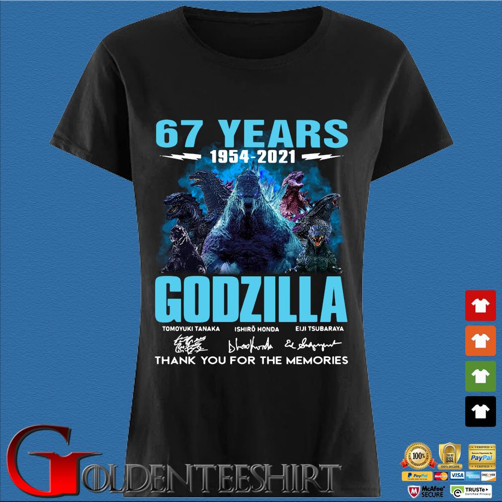 67 Years Godzilla 1954 2021 Thank You For The Memories Signatures Shirt Den Ladies