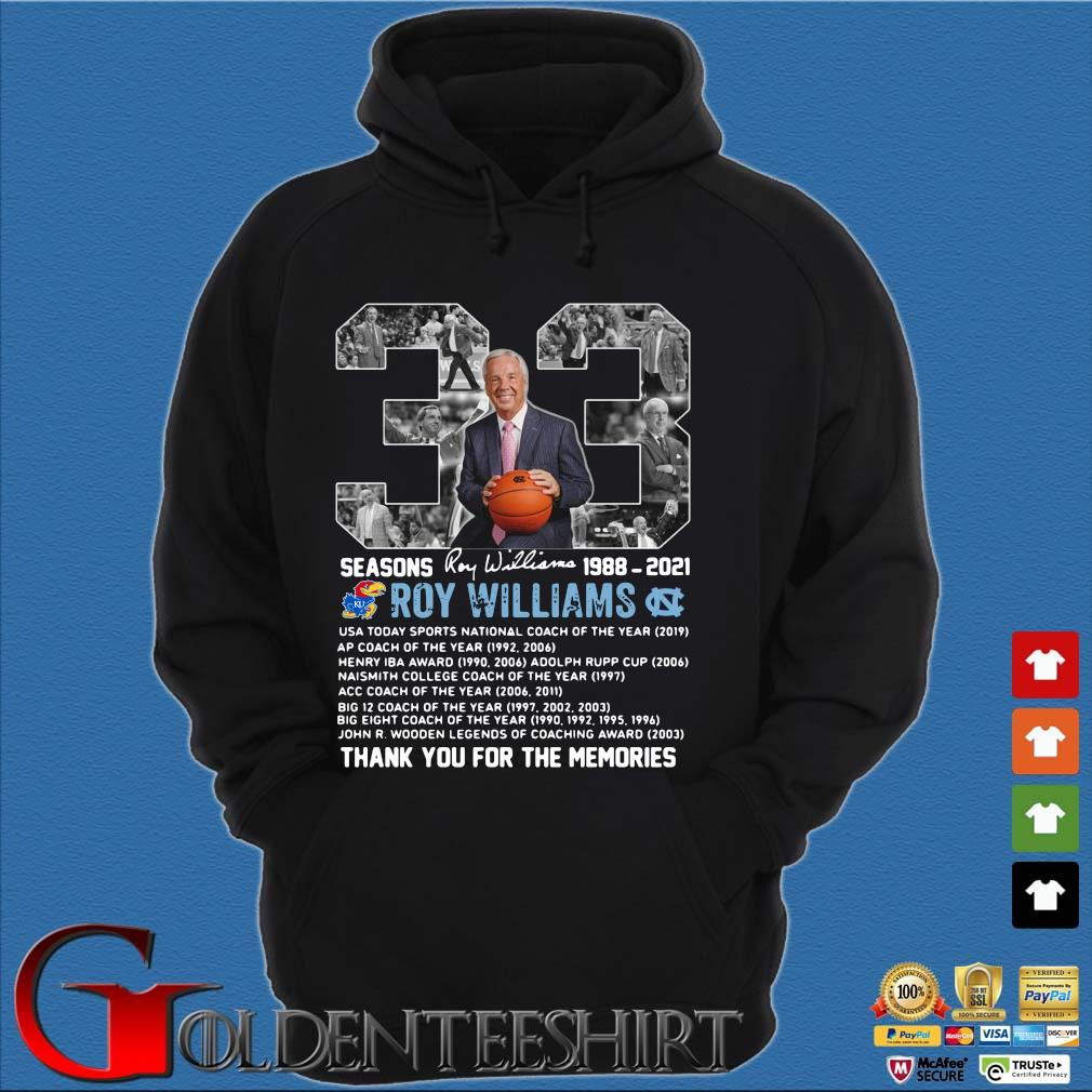 33 seasons 1988-2021 Roy Williams thank you for the memories signature Hoodie đen