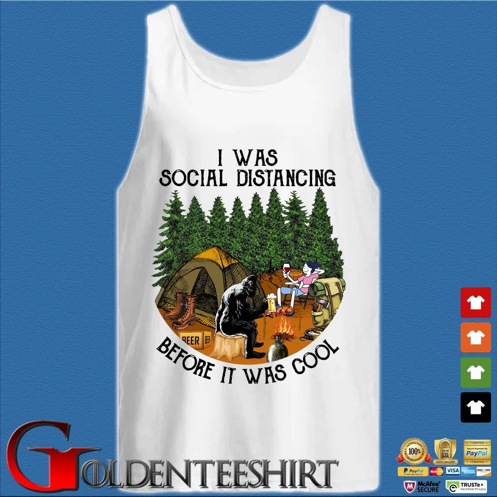Bigfoot I was social distancing before it was cool camping Tank top trắng