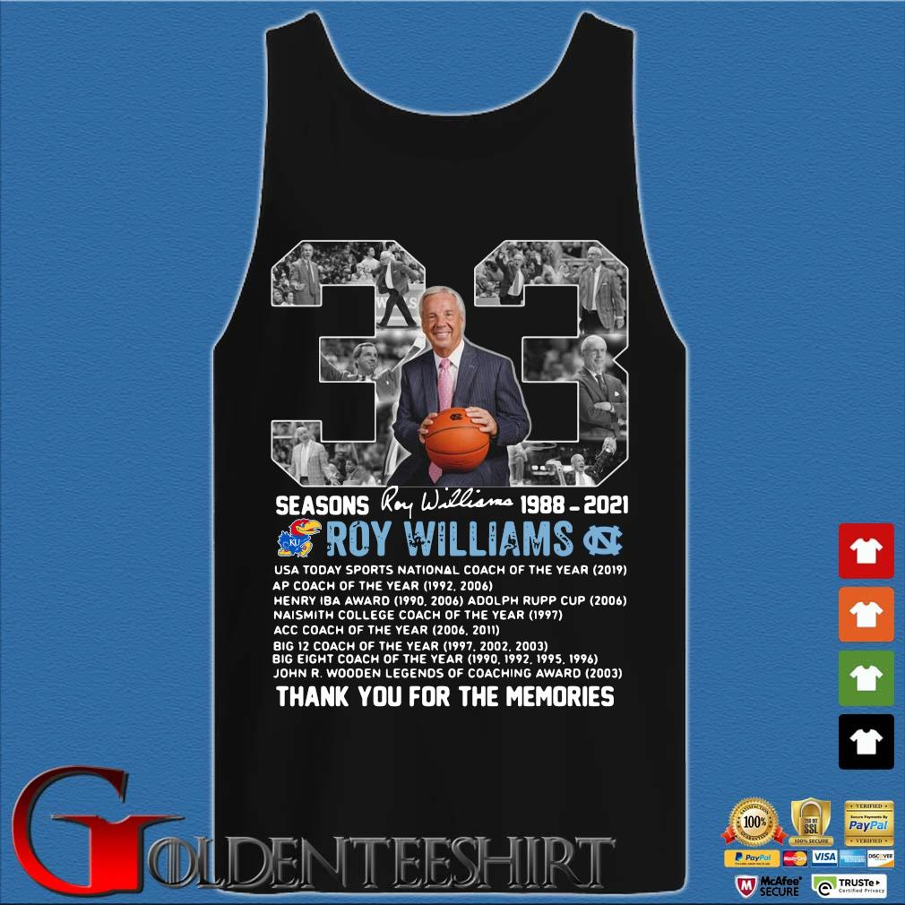 33 seasons 1988-2021 Roy Williams thank you for the memories signature Tank top den
