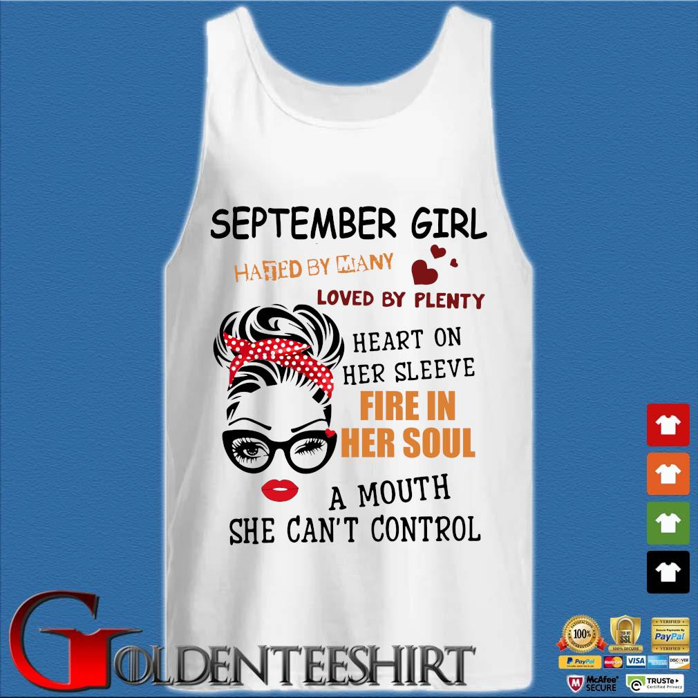 September girl hated by many loved by plenty heart on her sleeve fire in her soul a mou Tank top trắng