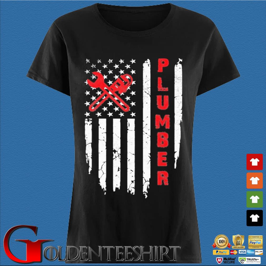 USA American Flag Plumber Shirt Den Ladies