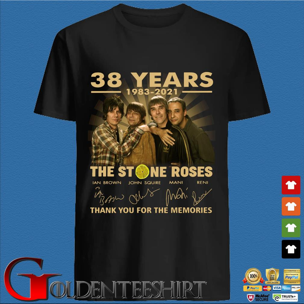 38 years 1983-2021 The Stone Roses thank you for the memories signatures shirt