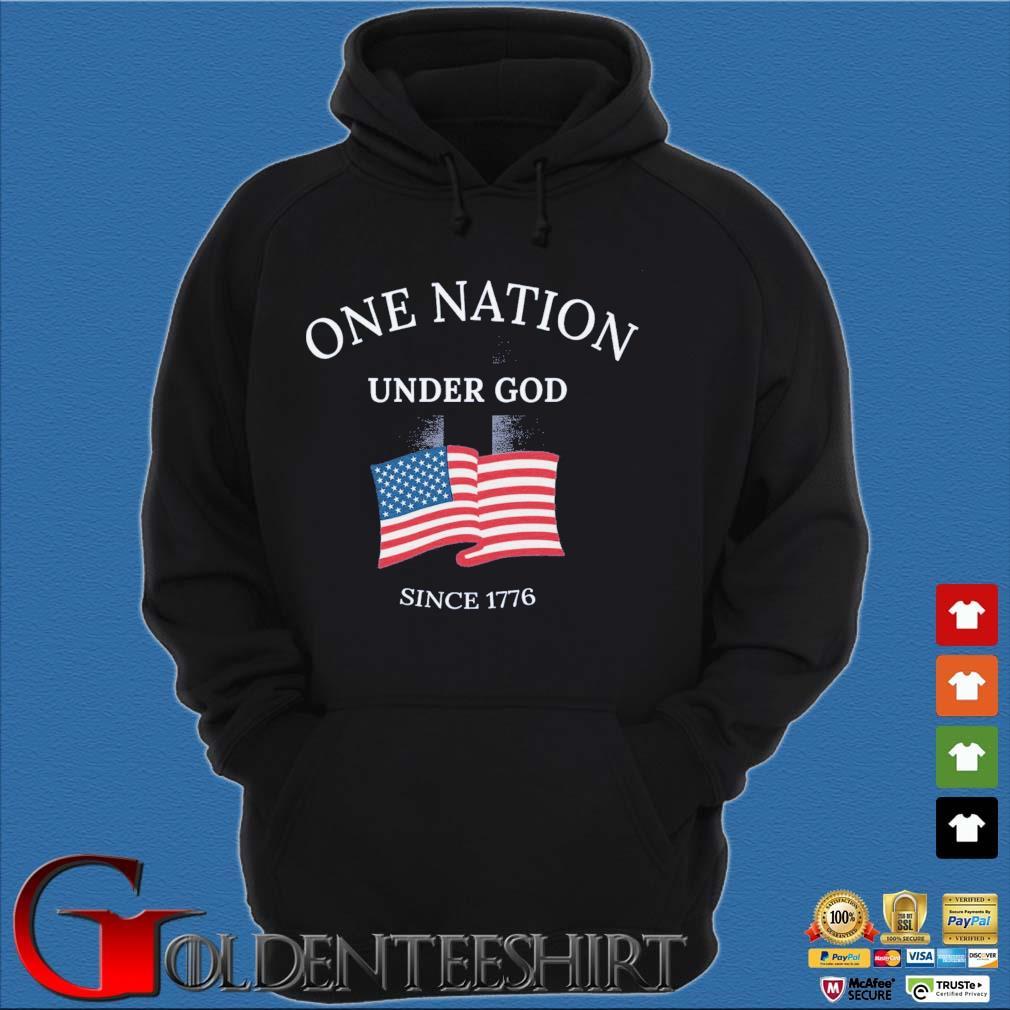 One nation under god since 1776 American flag Hoodie đen