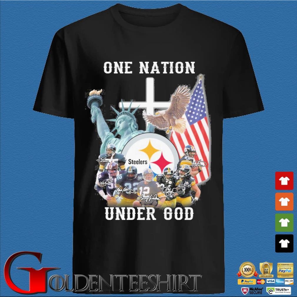 Pittsburgh Steelers football team one nation under god signatures shirt