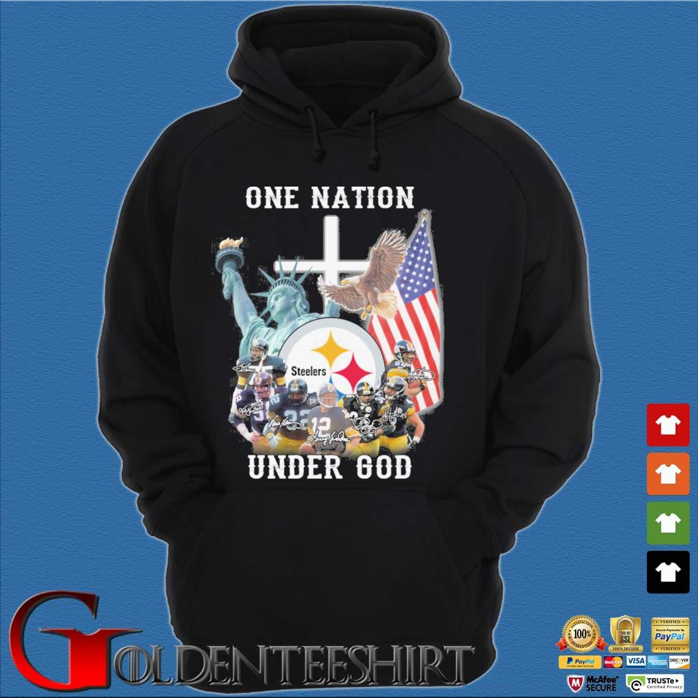 Pittsburgh Steelers football team one nation under god signatures Hoodie đen