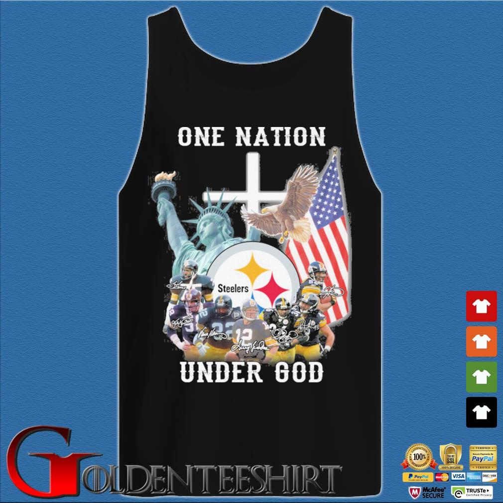 Pittsburgh Steelers football team one nation under god signatures Tank top den