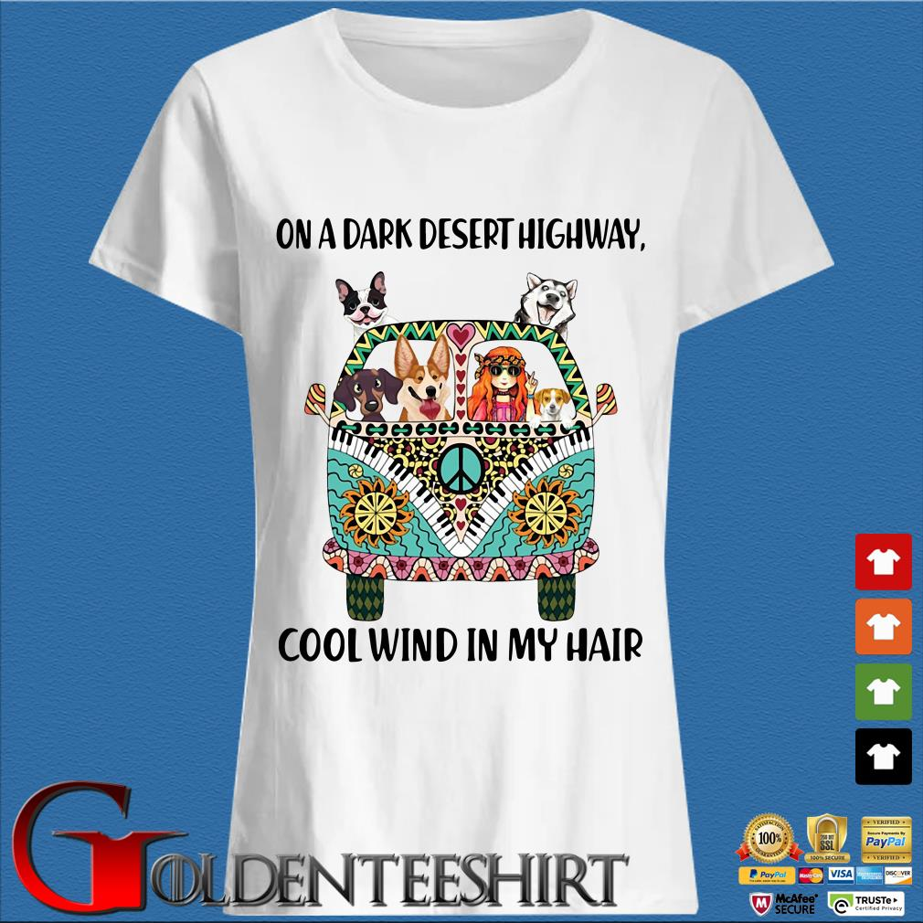 Hippie Bus Girl and Dogs On a dark desert highway cool wind in my hair shirt