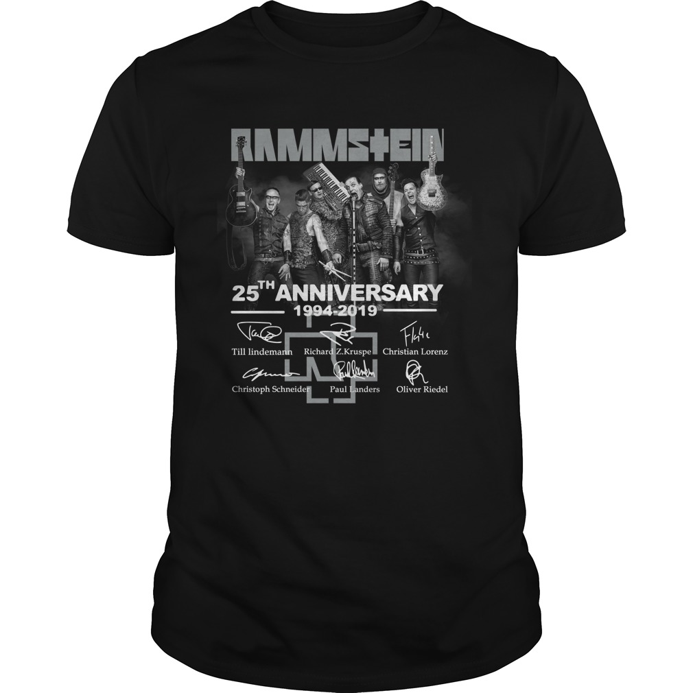 Rammstein 25th anniversary 1994-2019 signatures shirt