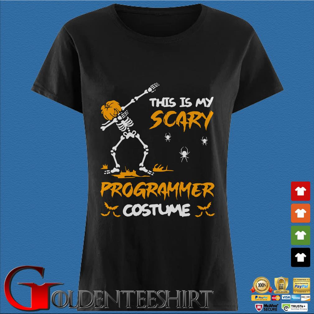This Is My Scary Programmer Costume Dabbing Skeleton Pumpkin Halloween Shirt