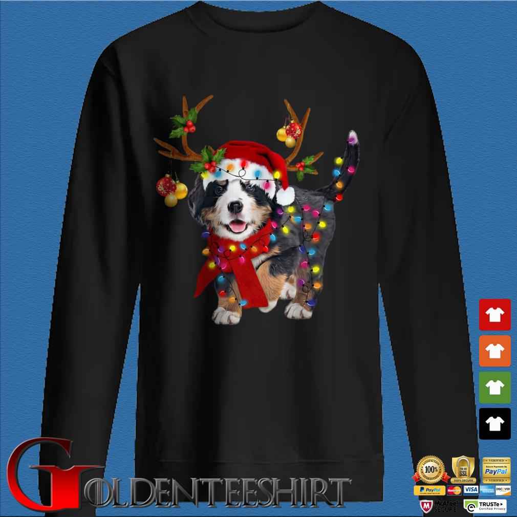 Bernese Mountain Dog Reindeer Light Christmas Sweater