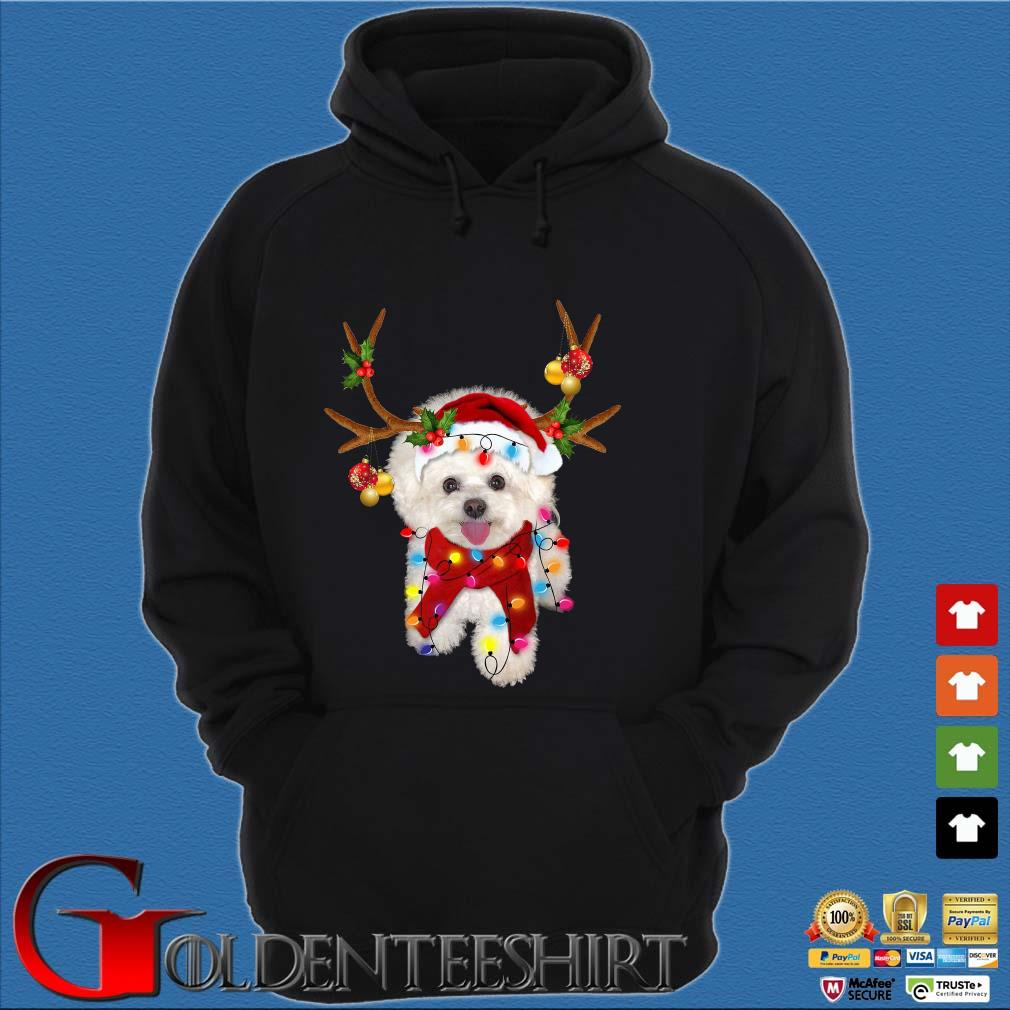 Bichon Frisé Dog Reindeer Light Christmas Hoodie