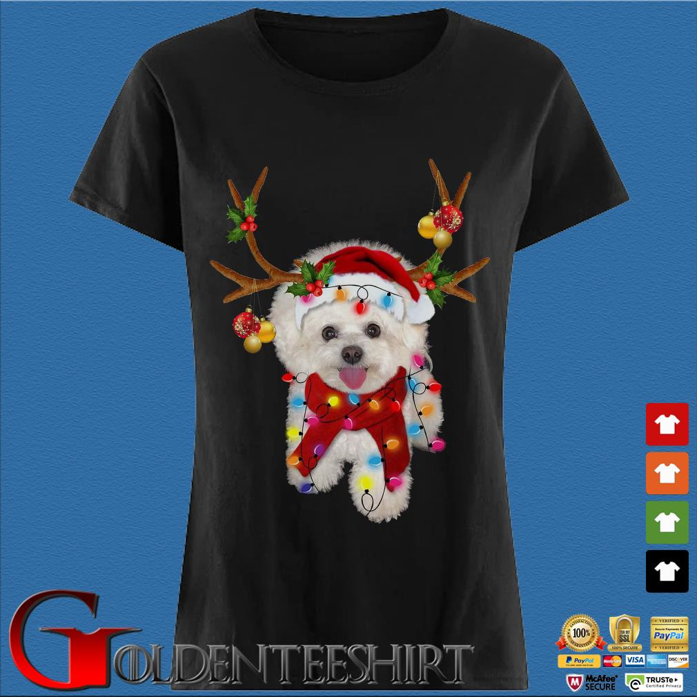 Bichon Frisé Dog Reindeer Light Christmas Ladies