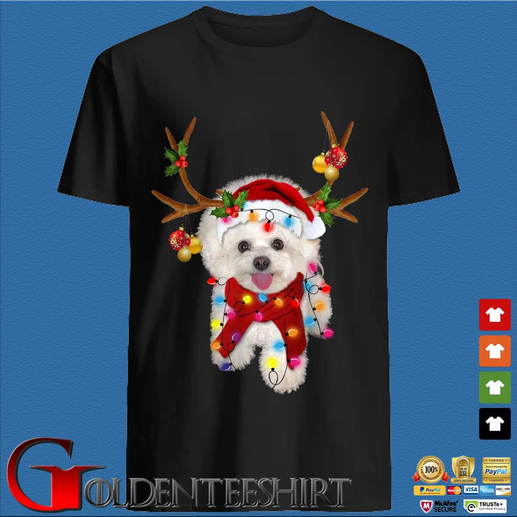 Bichon Frisé Dog Reindeer Light Christmas Shirt