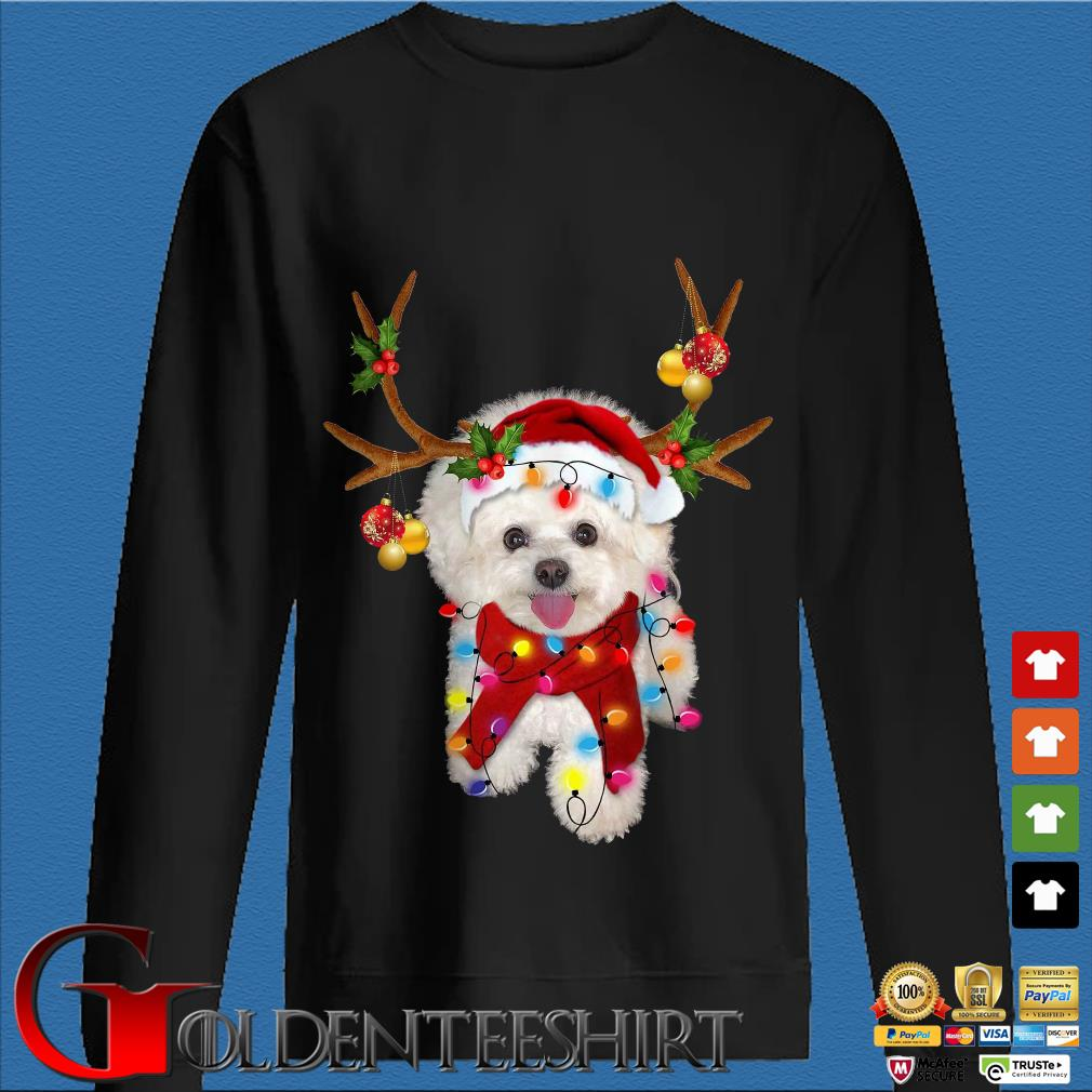 Bichon Frisé Dog Reindeer Light Christmas Sweater