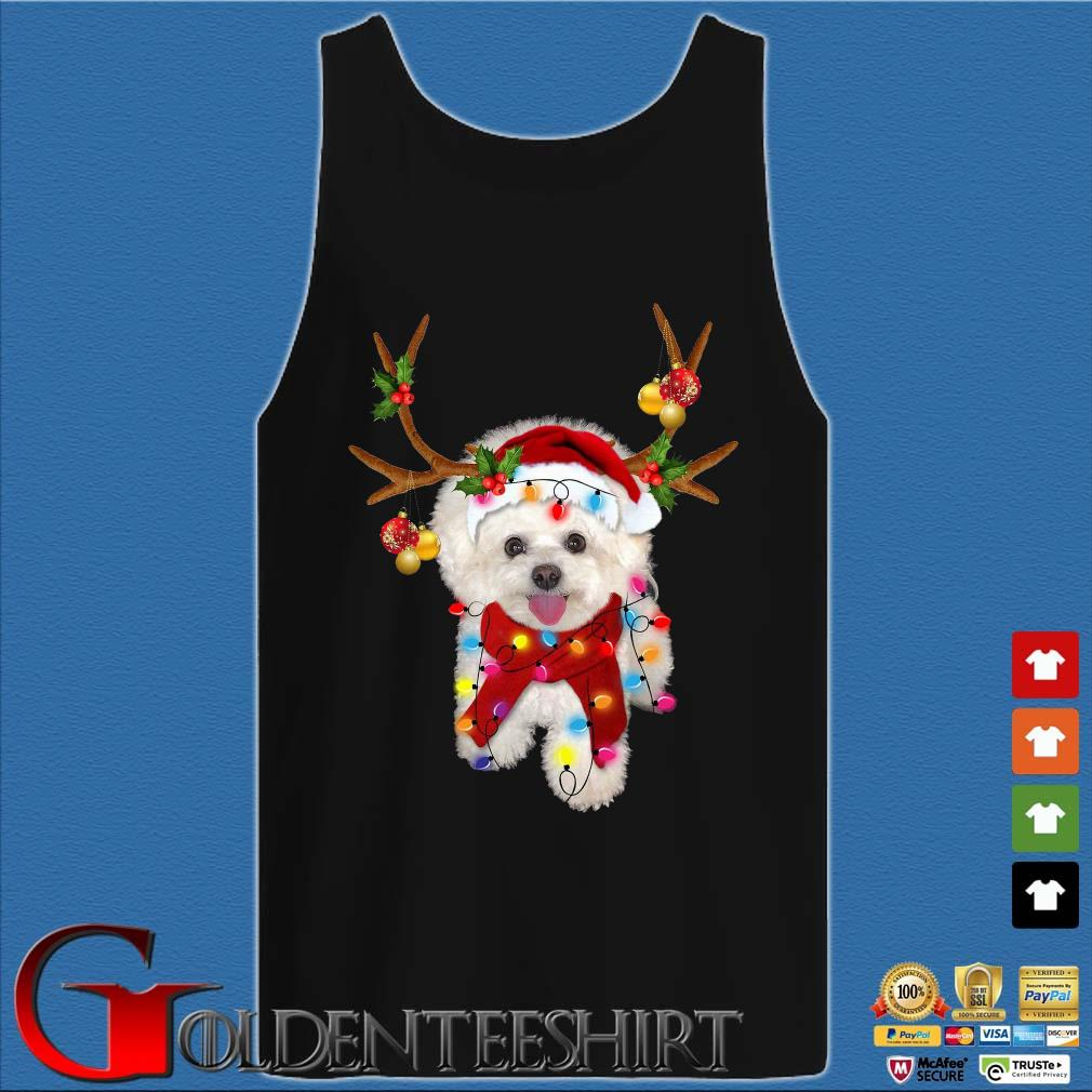 Bichon Frisé Dog Reindeer Light Christmas Tank top