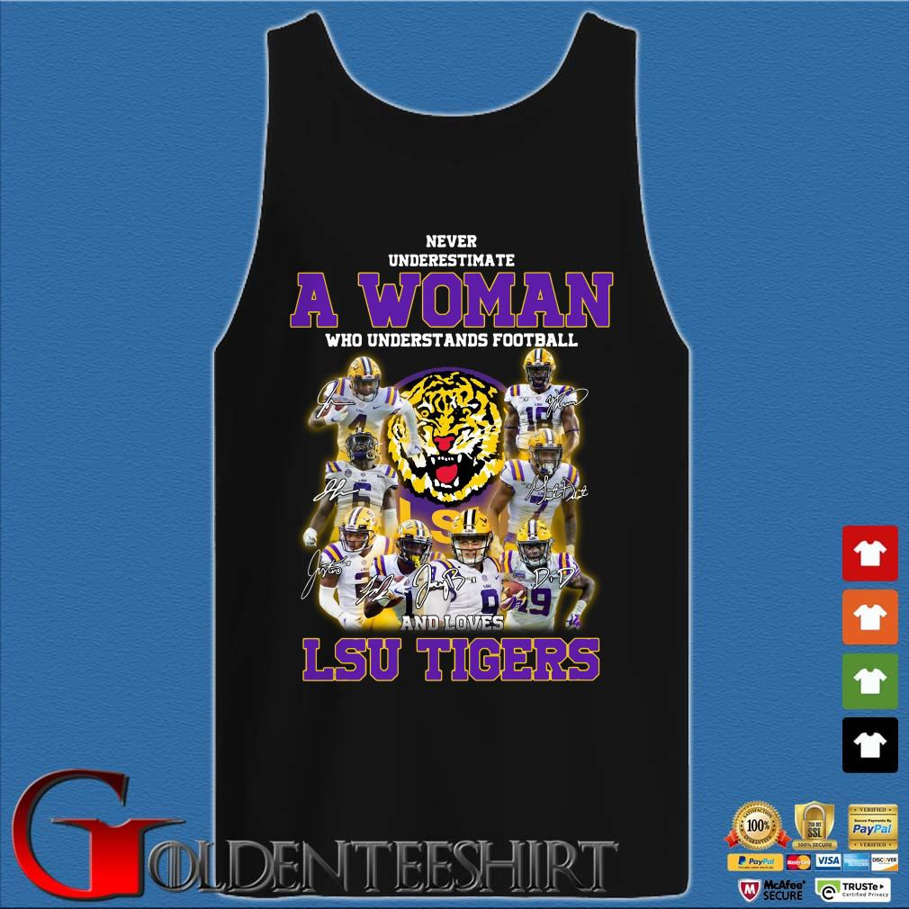 Never Underestimate a woman who understands football LSU Tigers Tank top