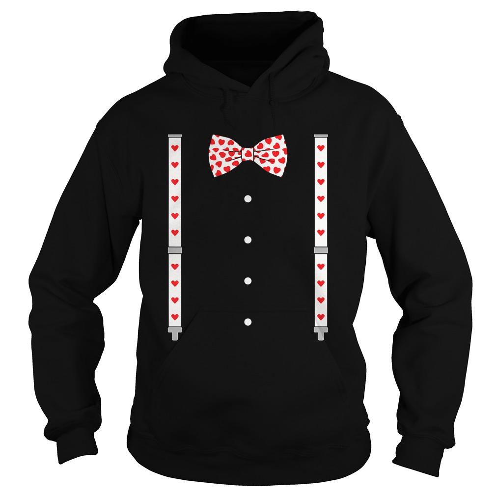 Hearts Bow TieSuspenders Valentines Day Costume  Hoodie