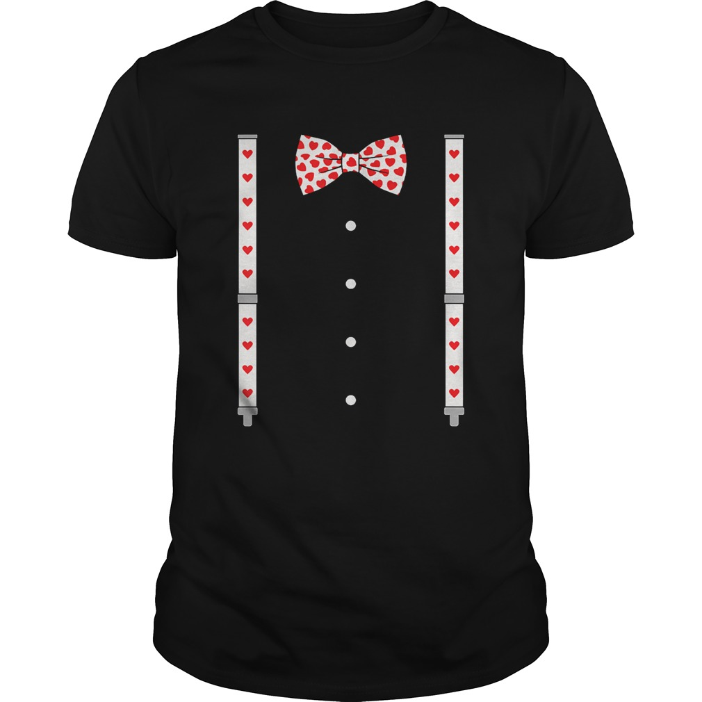 Hearts Bow TieSuspenders Valentines Day Costume  Unisex