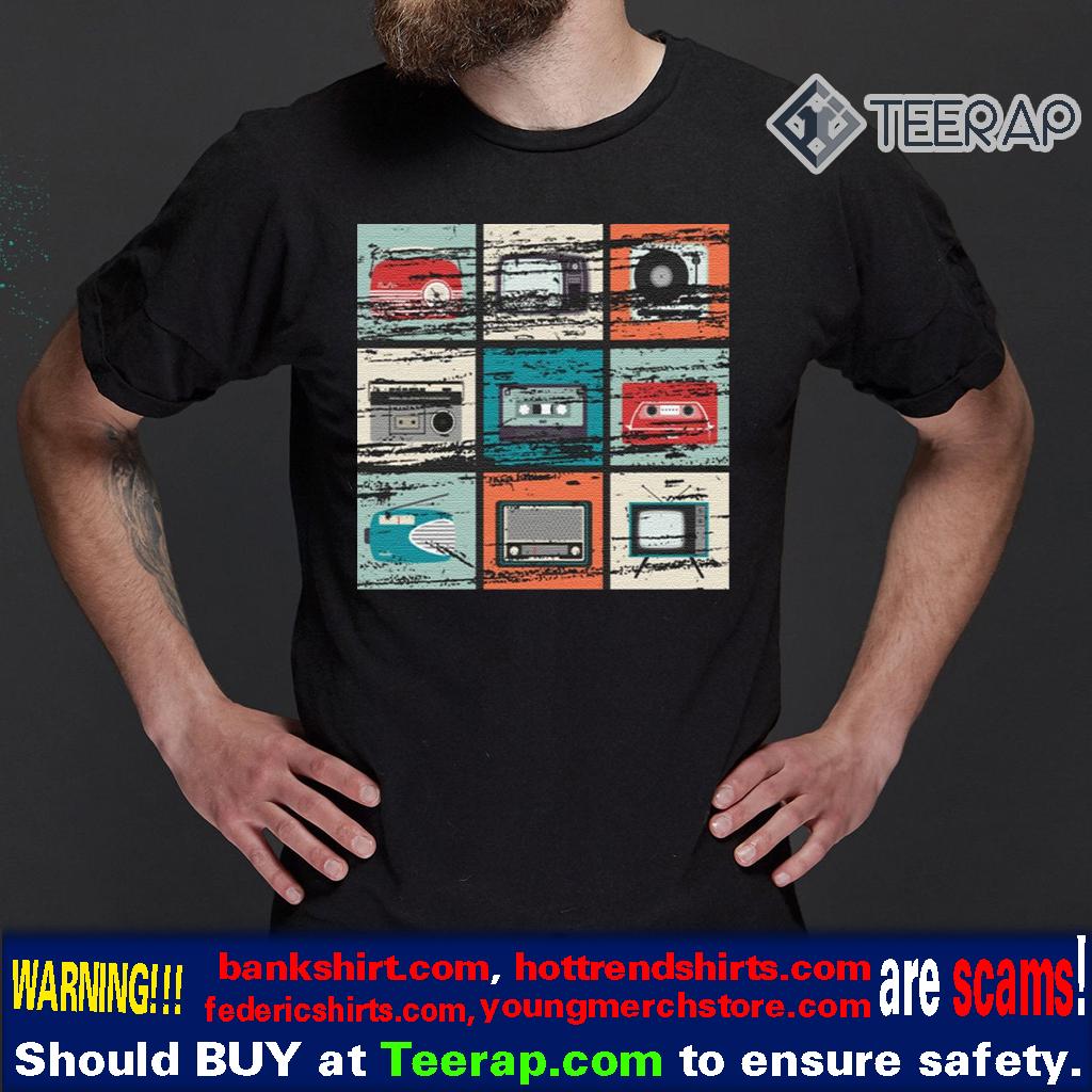Vintage TV Radio Boom Box Cassette Tape Record Player T-Shirts